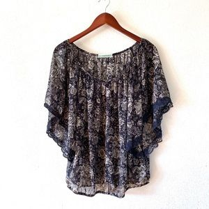 Anthro Pleione Waterfall Blue and Grey Sheer Top